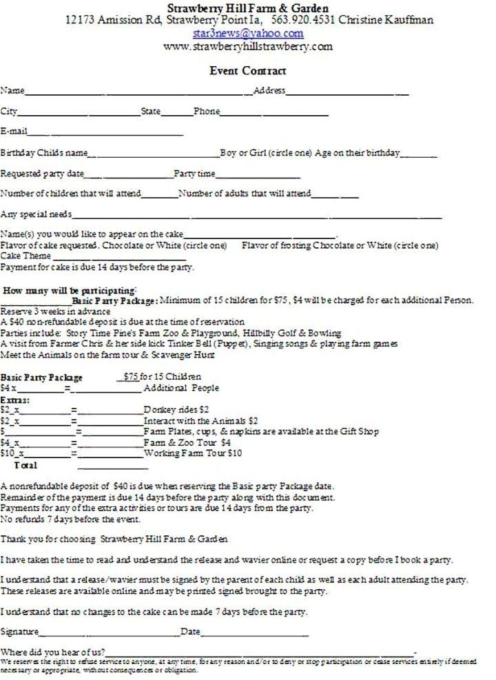 restaurant event contract