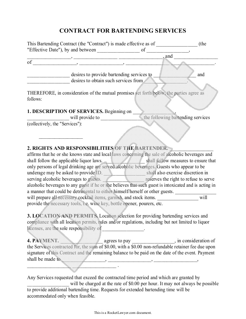 Restaurant Party Contract Template Sample Bartending Contract form Template Bartending