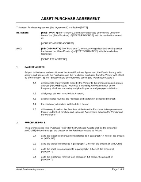 Retail Employment Contract Template asset Purchase Agreement Retail Store Template Word