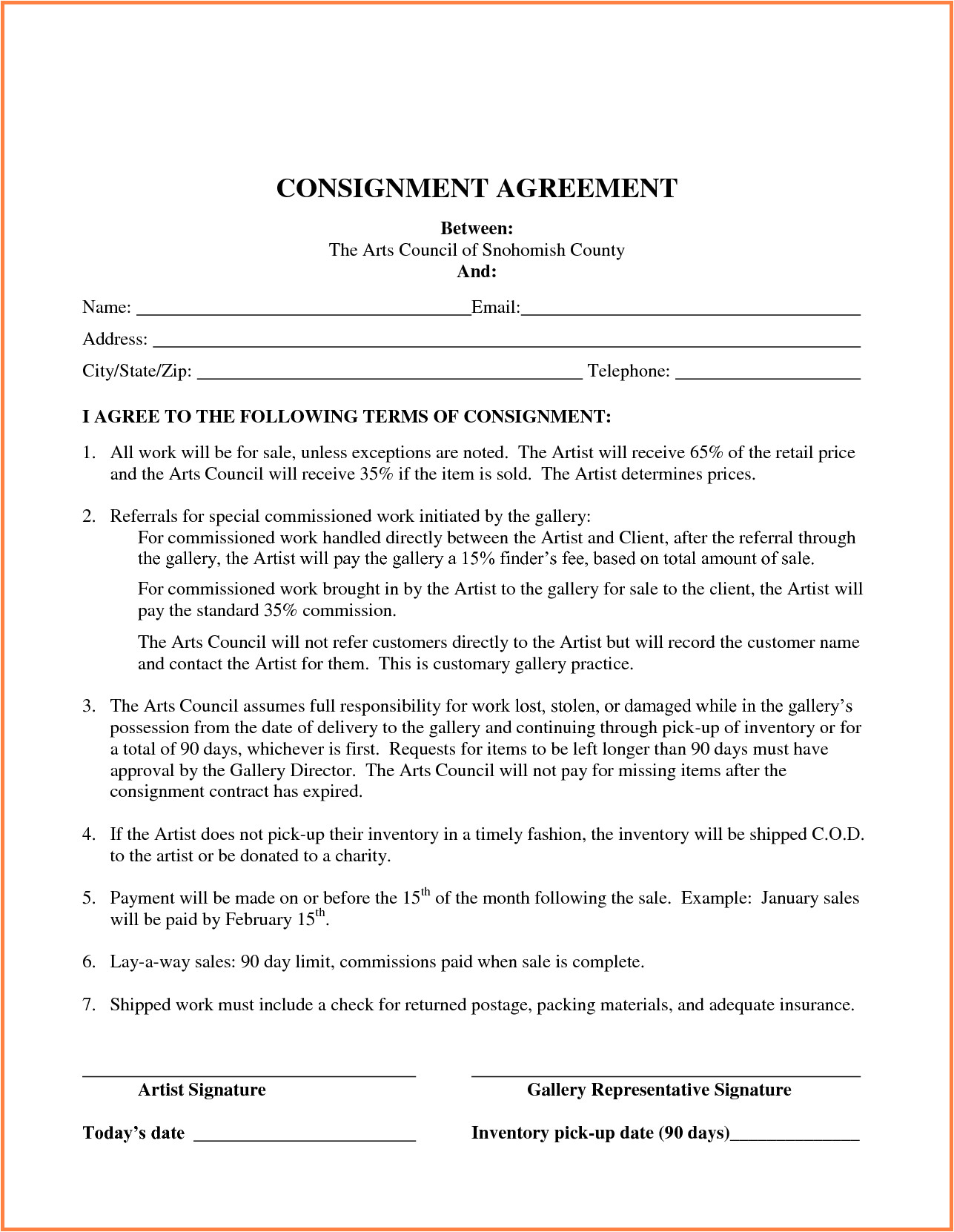 retail consignment agreement