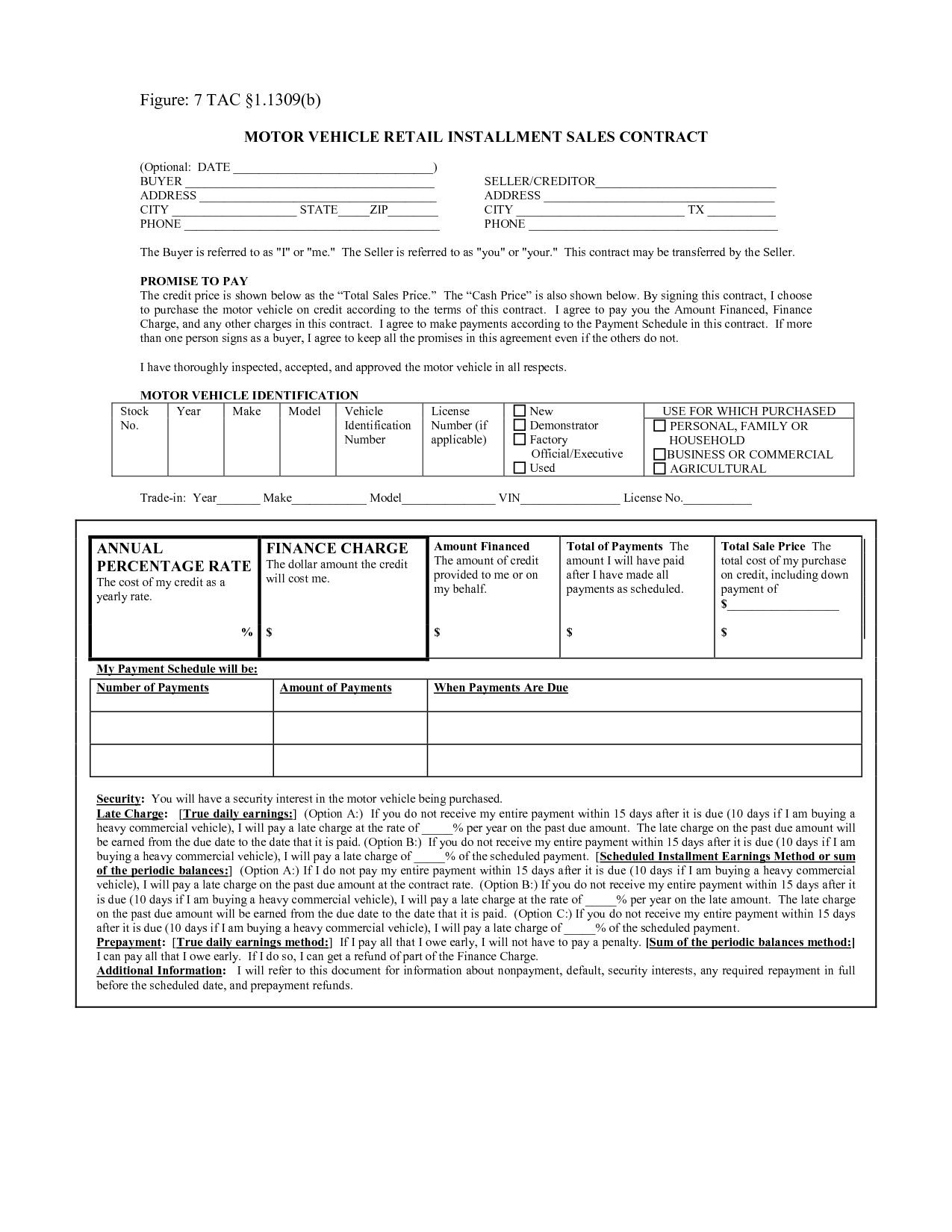 retail installment contract motor vehicle