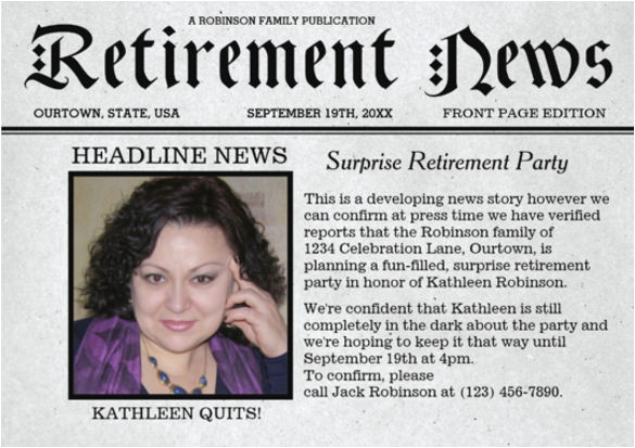 Retirement Flyer Template Powerpoint 12 Newspaper Front Page Templates Free Sample Example
