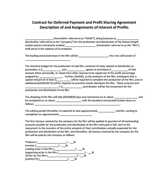 Revenue Sharing Contract Template Sample Profit Sharing Agreement 10 Free Documents In