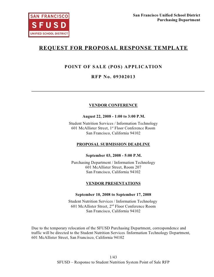 sns pos system rfp response template