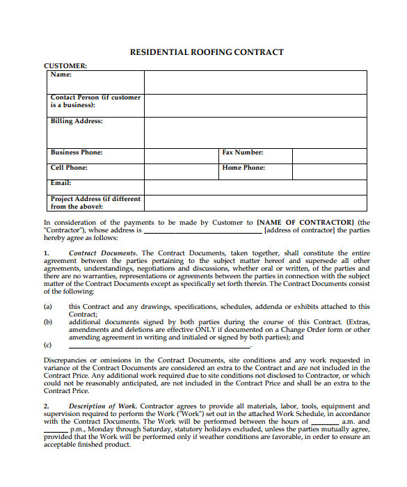 Roofing Contracts Templates Roofing Contract Template 9 Download Documents In Pdf