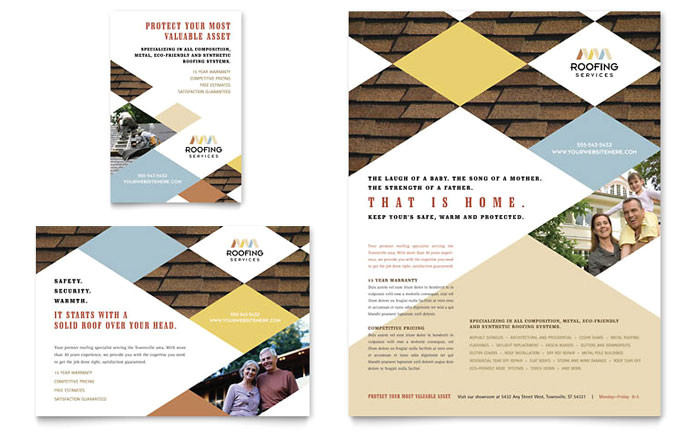 roofing contractor flyer ad template design co0040701