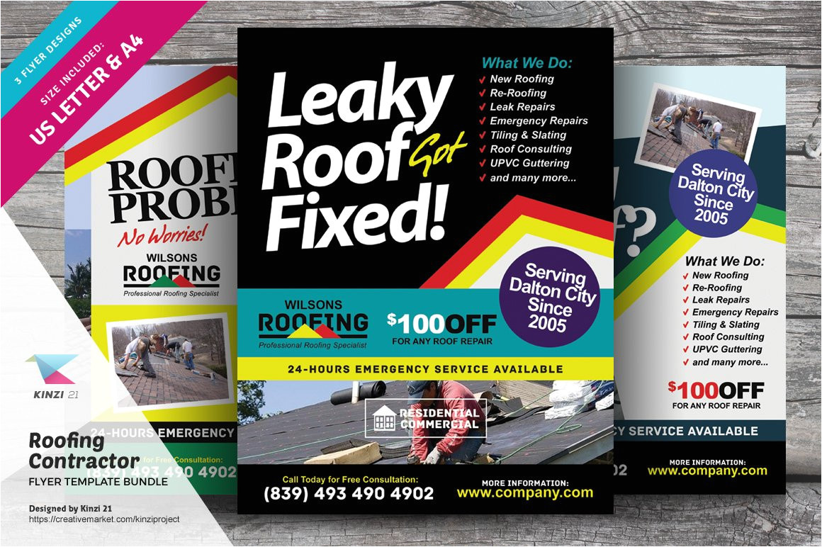 459062 roofing contractor flyer templates