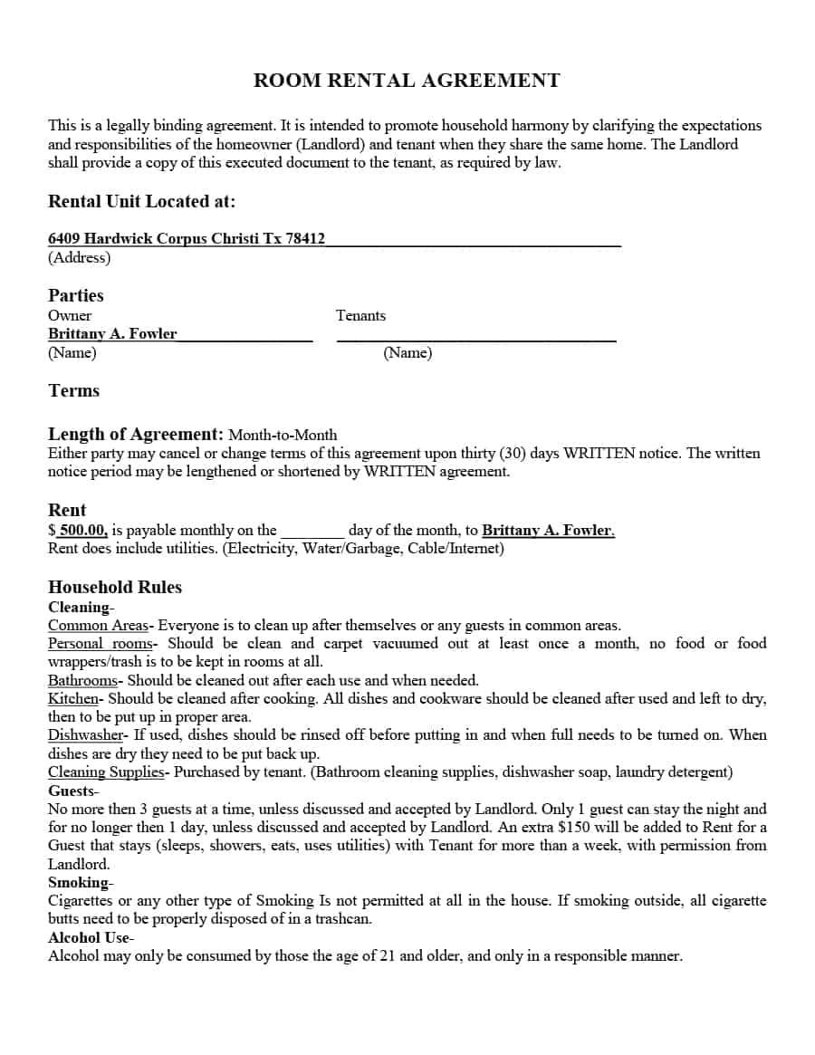 room rental agreement