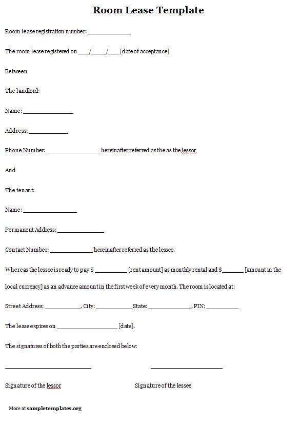 room rental agreement template