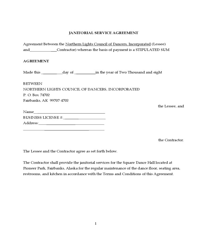 Rpo Contract Template 2019 Janitorial Contract Template Fillable Printable