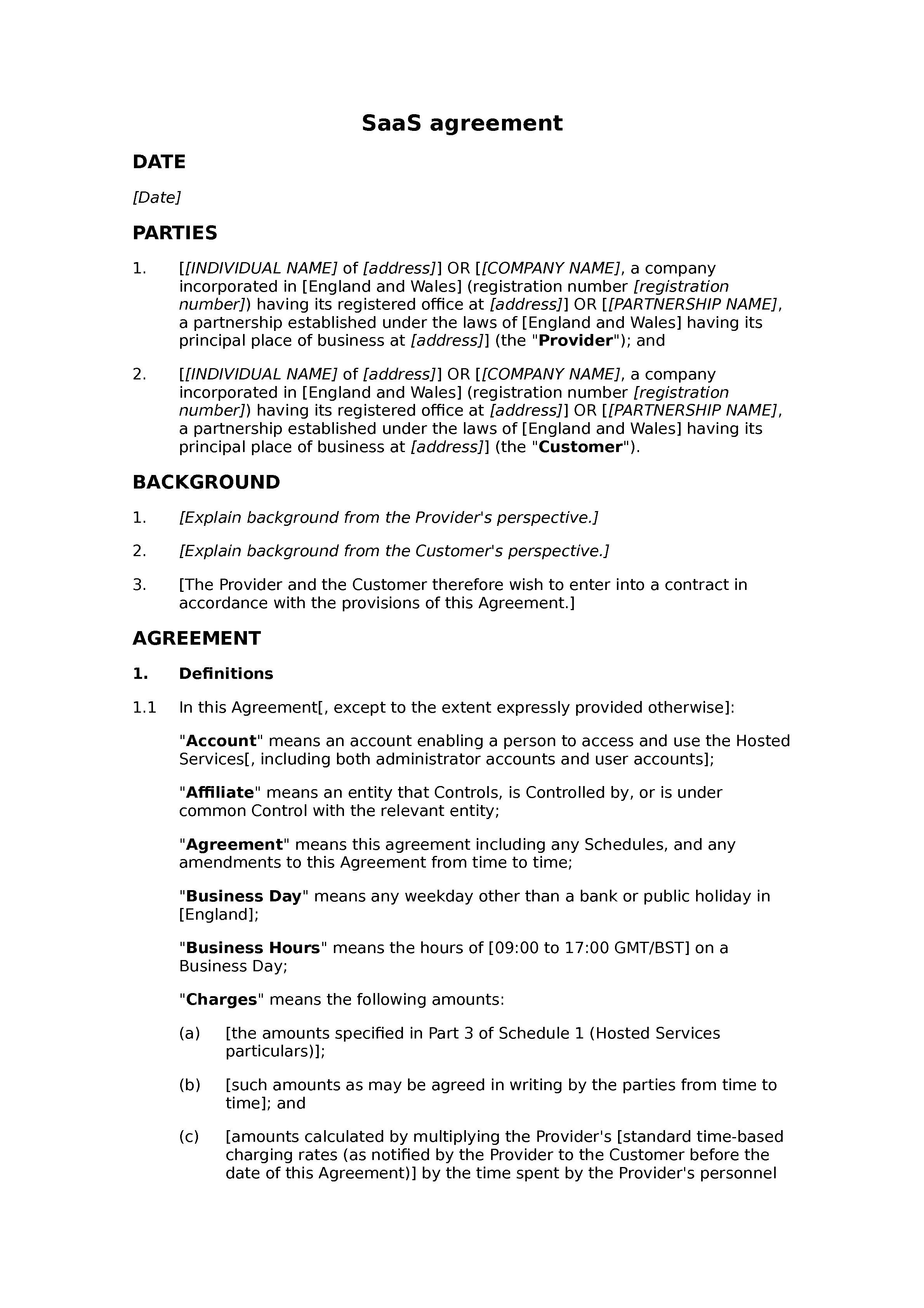 saas agreement standard