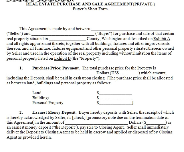 Sale Of House Contract Template House for Sale Contract
