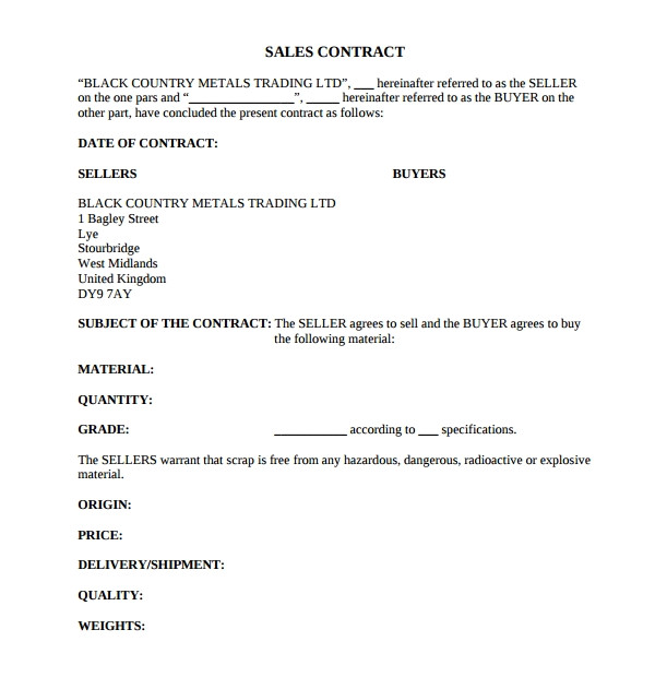 Sales Contract Agreement Template Sample Sales Contract Template 12 Free Documents