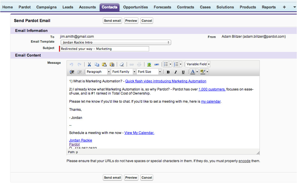 send tracked pardot email templates salesforcecom