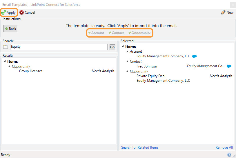 Salesforce Email Template Lookup Field Using Salesforce Email Templates In Outlook Linkpoint360