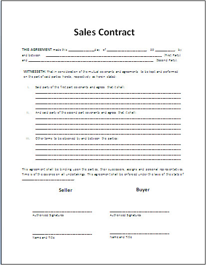 Salesperson Contract Template Free Printable Sale Contract form Generic