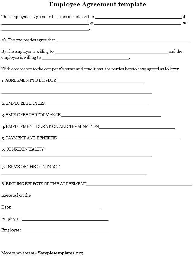 Salon Employee Contract Template Employee Agreement is A Contract Between An Employer and