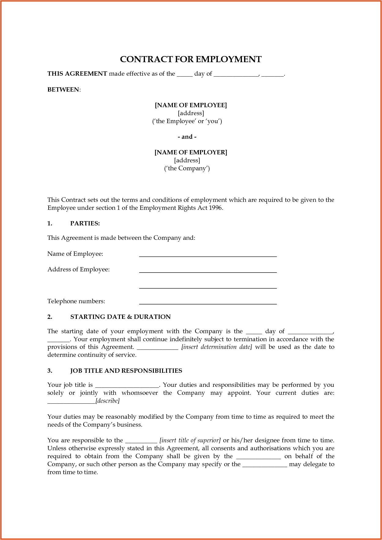 employee contract templates uk