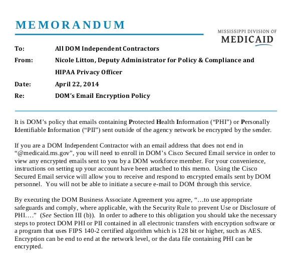 sample email memo