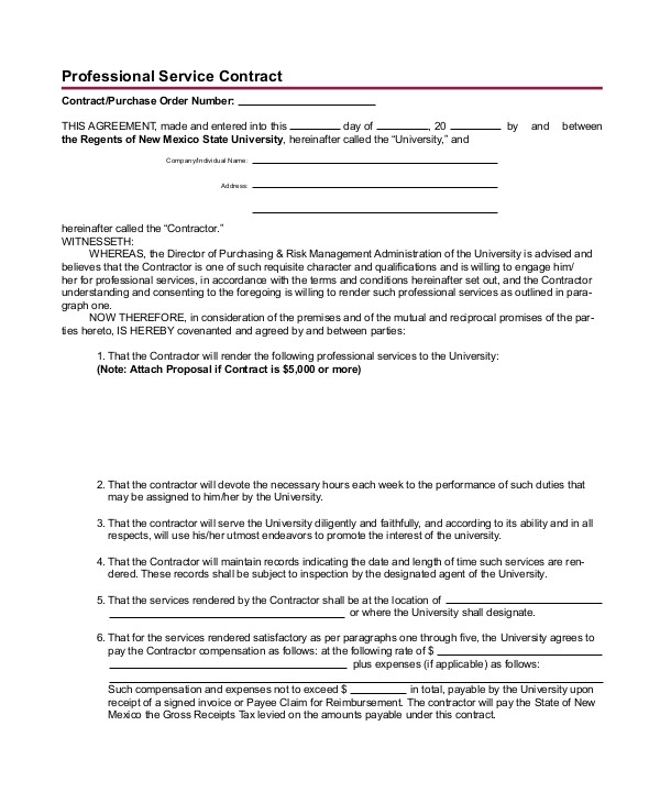 Sample Professional Services Contract Template 24 Sample Service Agreements Pdf Word