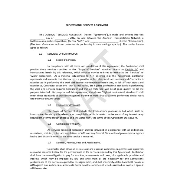 Sample Professional Services Contract Template 36 Service Agreement Templates Word Pdf Free