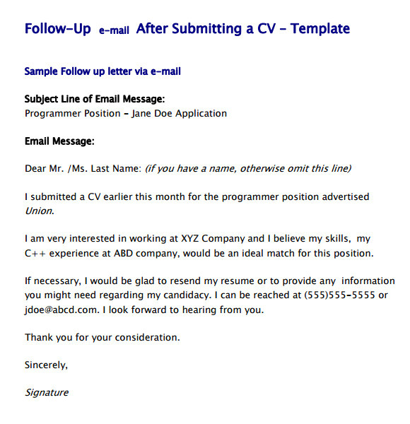 follow up email template
