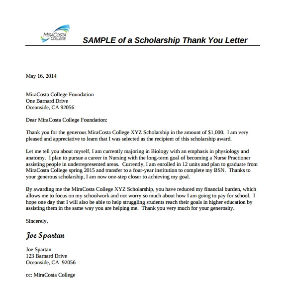 scholarship thank you letter