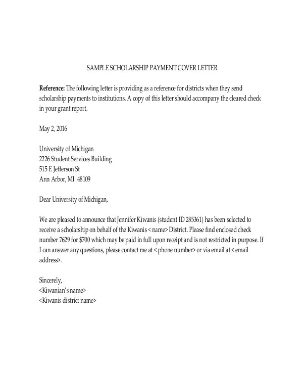 Scholarship Email Template Scholarship Letter Template 11 Free Sample Example
