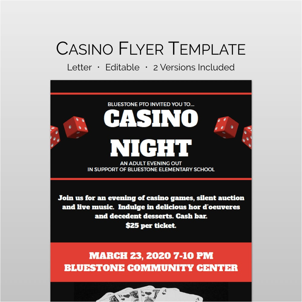 casino night flyer and school fundraiser