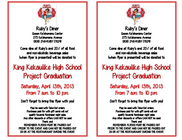 king kekaulike high school project graduation fundraiser flyer 18321121