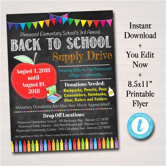editable school supply drive flyer