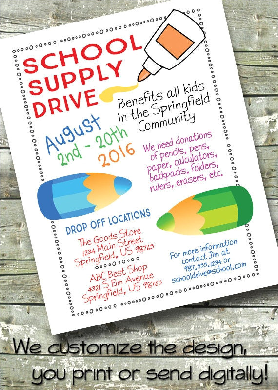 school supply drive back to school 5x7