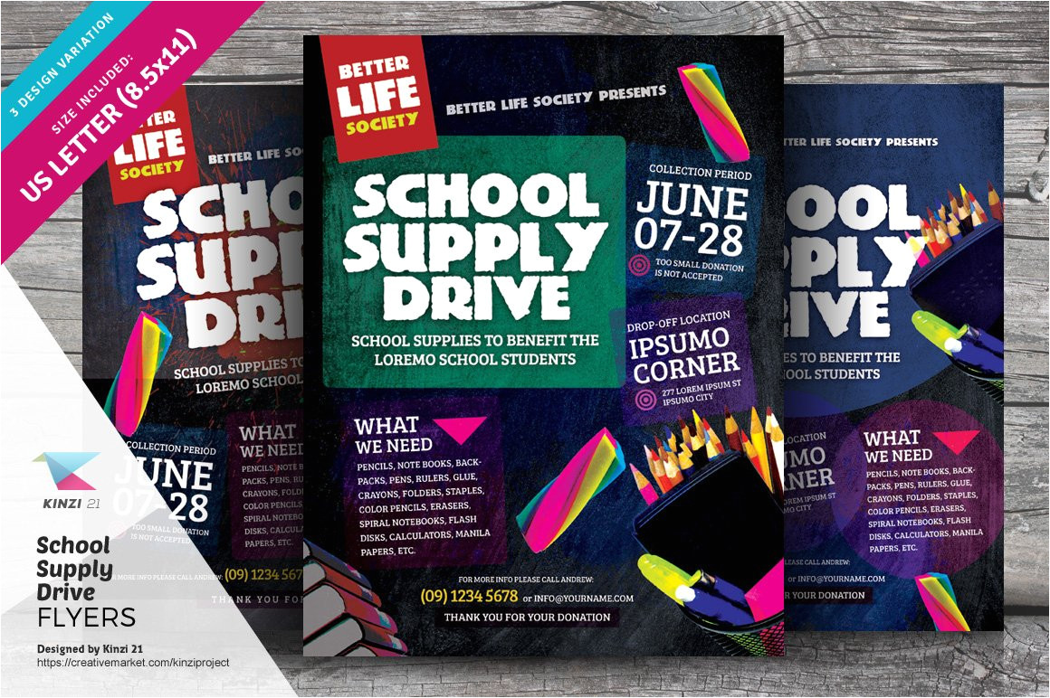 1125508 school supply drive flyer templates
