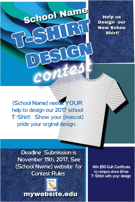 school t shirt design contest flyer template