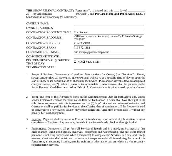 Seasonal Snow Removal Contract Template 20 Snow Plowing Contract Templates Google Docs Pdf