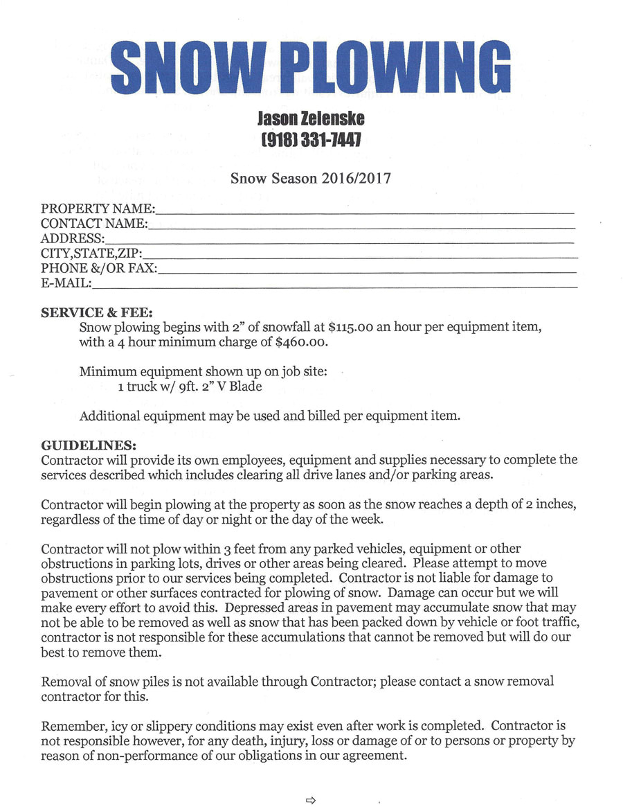 Seasonal Snow Removal Contract Template Snow Removal