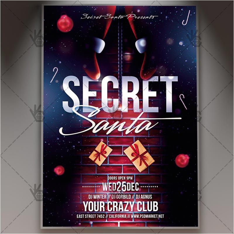 secret santa christmas flyer psd template