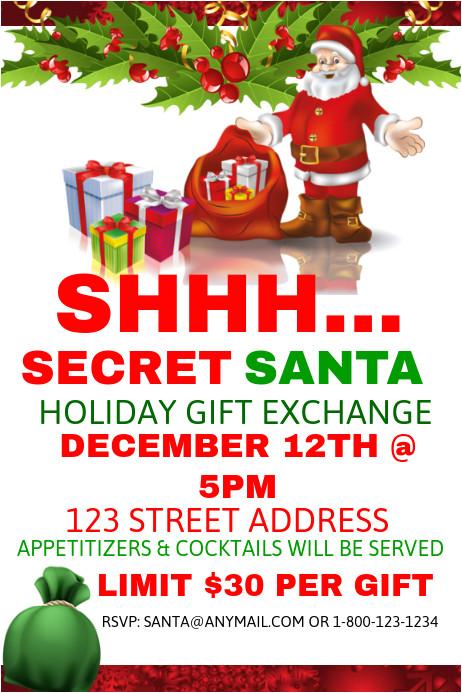 Secret Santa Flyer Templates Secret Santa Holiday Gift Exchange Postermywall