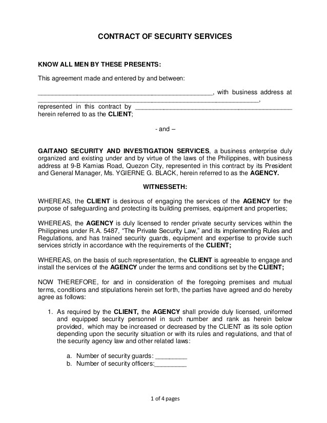 contract of security services