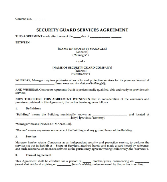 Security Contracts Templates Contract Agreement 9 Download Free Documents In Pdf Word