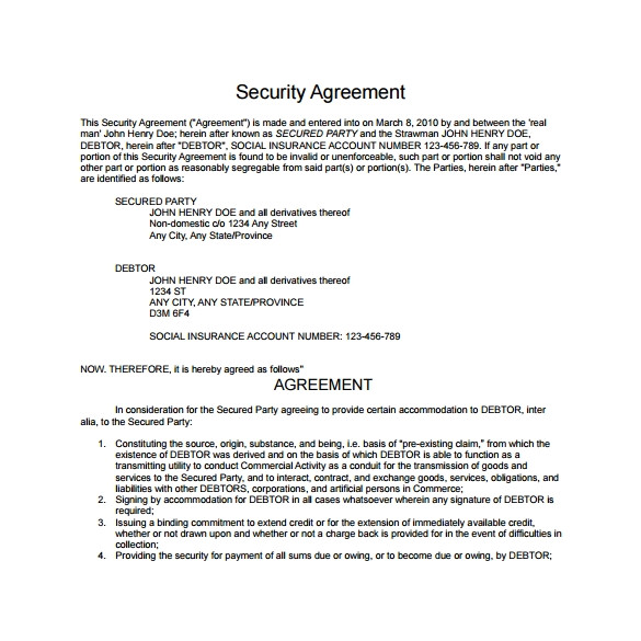 security agreement template