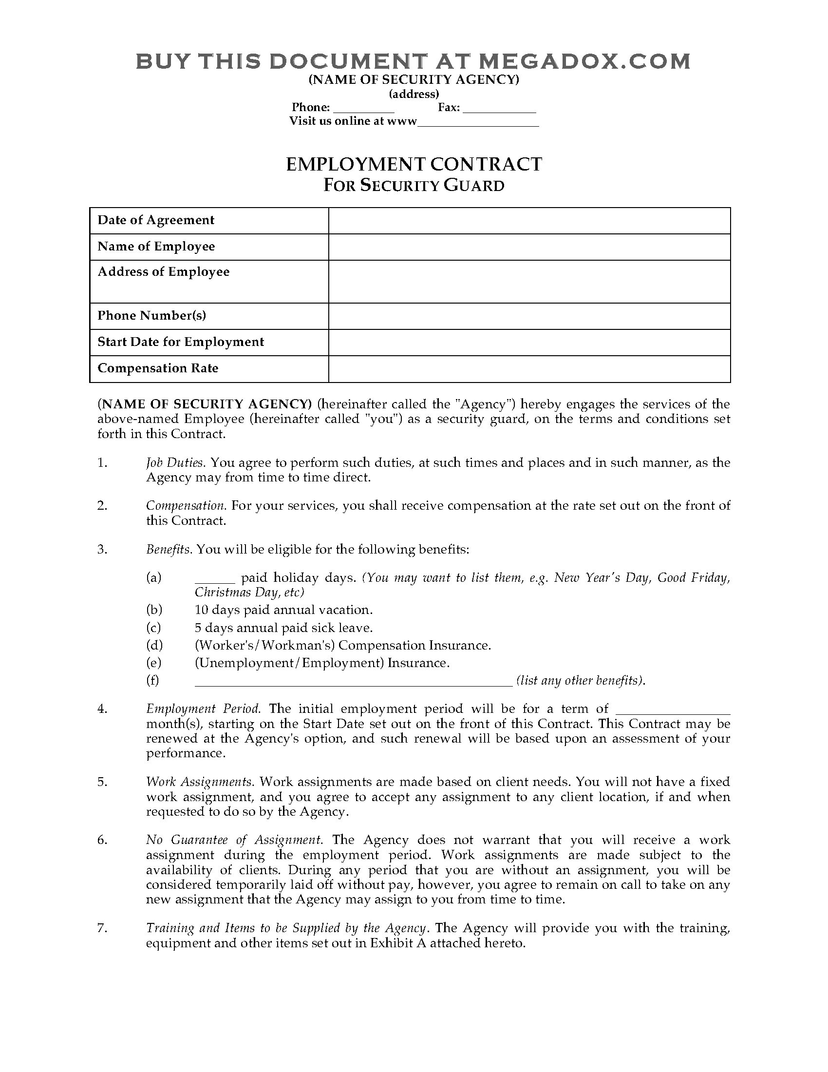 Security Contracts Templates Security Guard Employment Contract Legal forms and