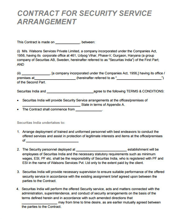 security contract template