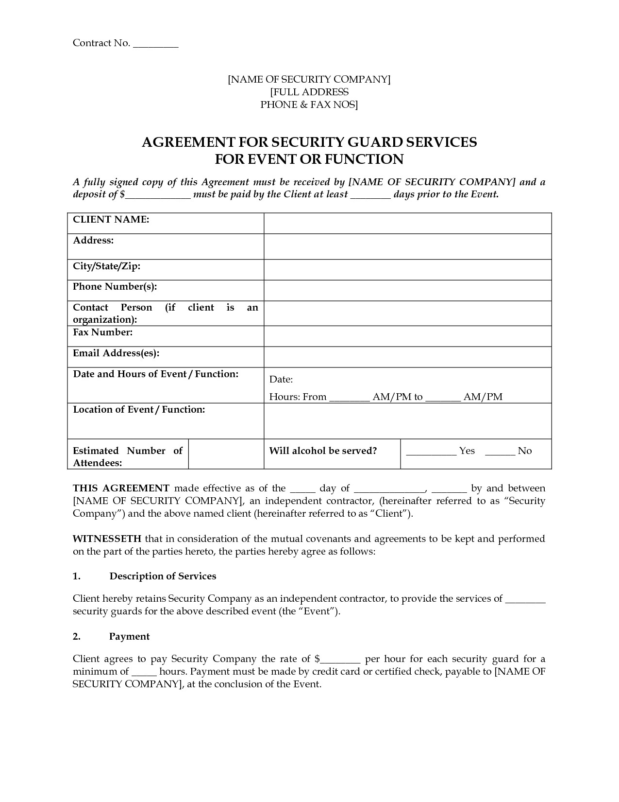 post event security guard contract agreement 642492