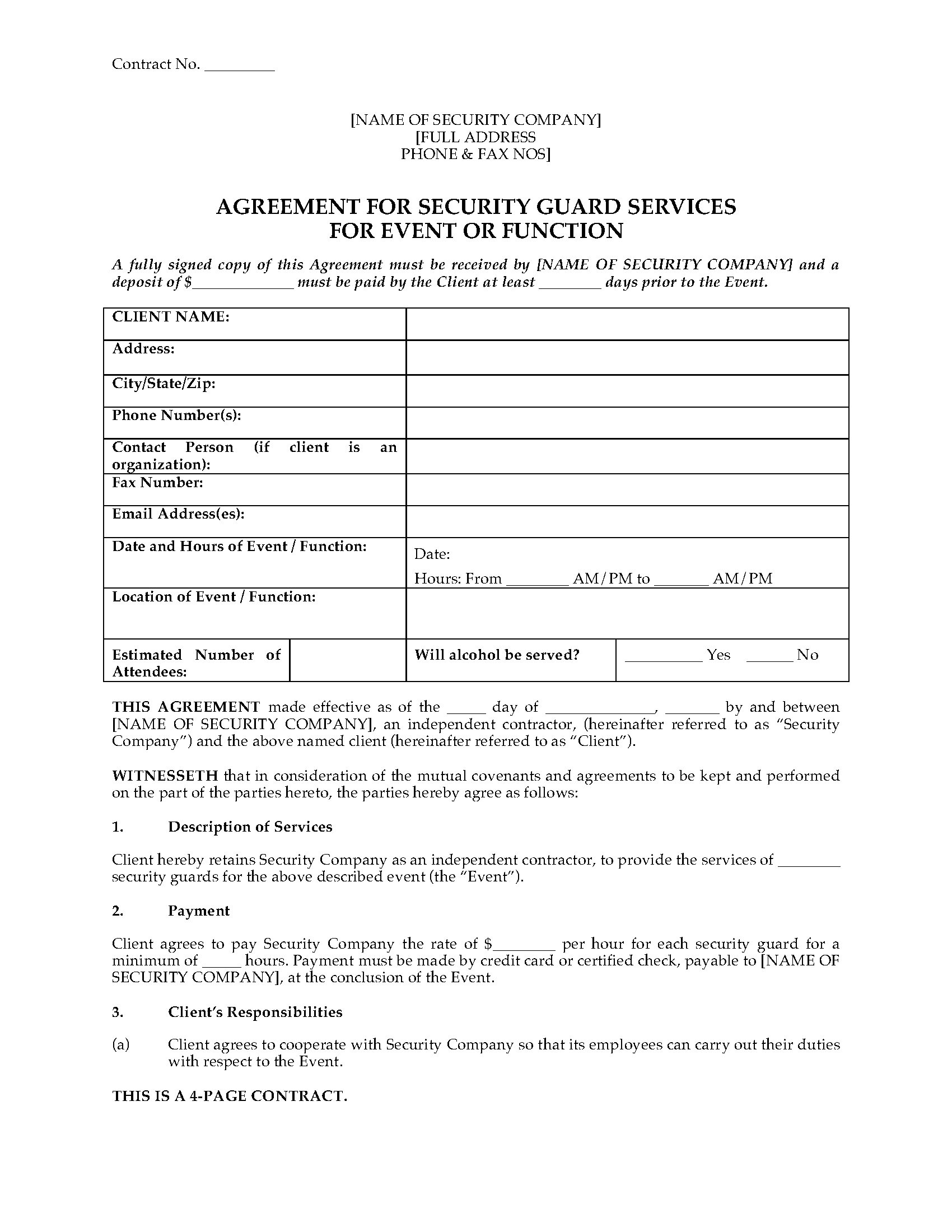 usa security guard agreement for event or function
