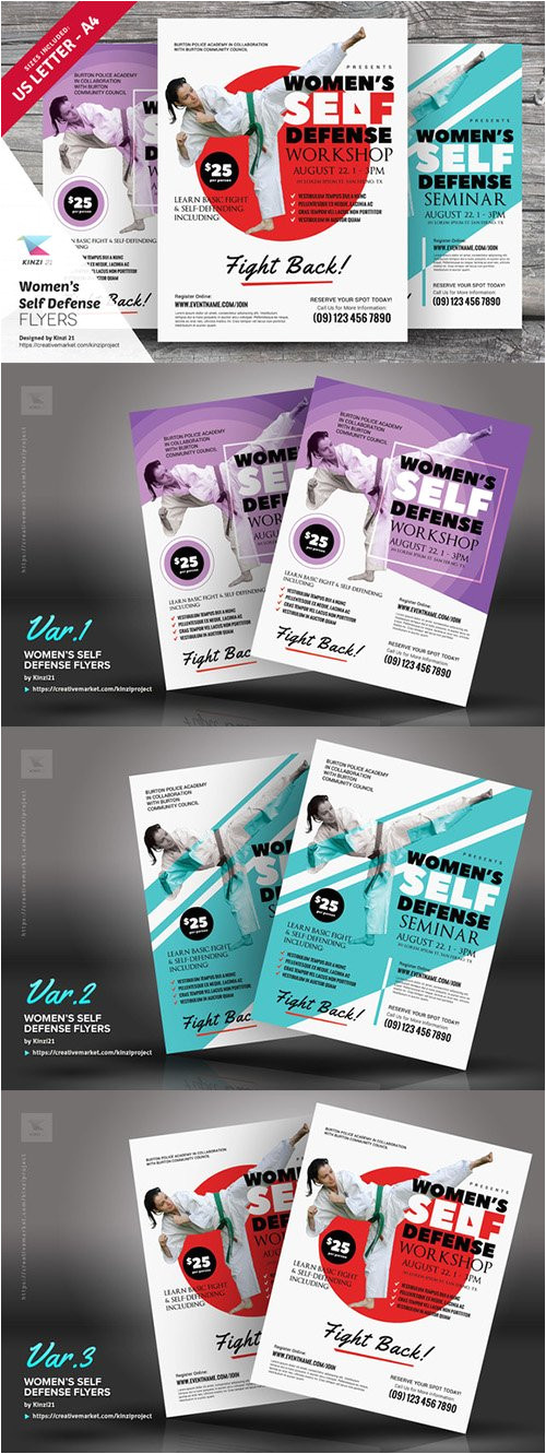 womens self defense flyer templates creativemarket 729634 44647