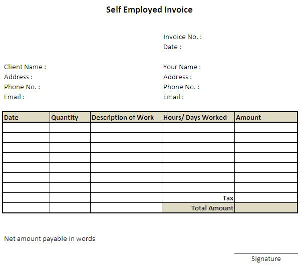 Self Employed Carer Contract Template 11 Self Employed Invoice Template Uk 7 Invoice Invoice