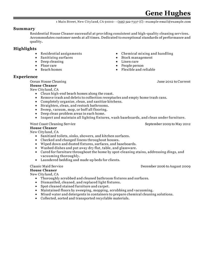 Self Employed Cleaner Contract Template Best Residential House Cleaner Resume Example Livecareer