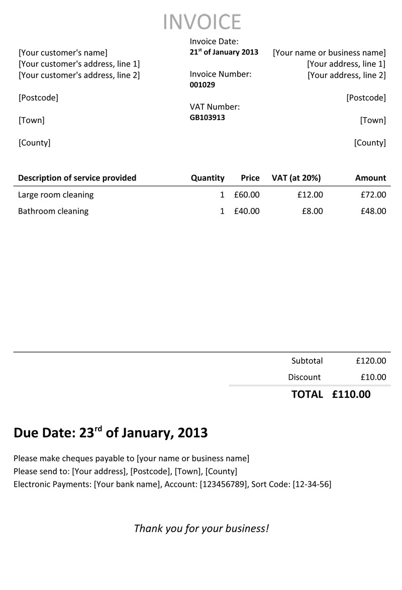 cleaning invoice template uk 1222