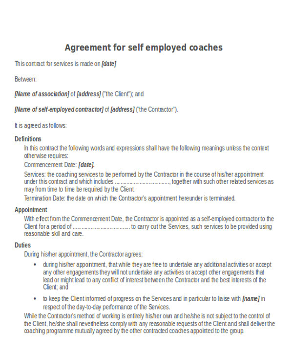 sample contractor agreements
